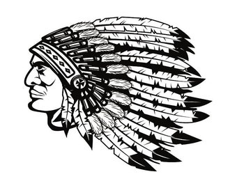 American Indian #1 Native Warrior Headdress Feather Tribe Chief Aztec Mascot Tattoo Logo .SVG .EPS .PNG Clipart Vector Cricut Cut Cutting