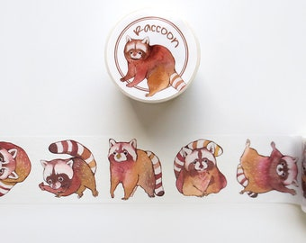 Raccoon Washi Tape, Animal Washi Tape Roll, Extra Wide Deco Tape, Masking Tape for Hobonichi, Bullet Journal