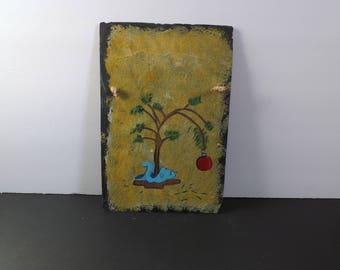 handpainted art on slate tile wall hanging