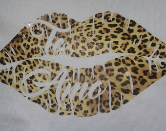 Leopard Kiss Lips with Te Amo I Love You embedded in White Onesie Hot Iron on vinyl transfer for your baby or Toddler