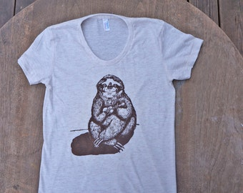 Sloth Playing the Ukulele T-Shirt American Apparel Oatmeal Cream Track Tee for Women