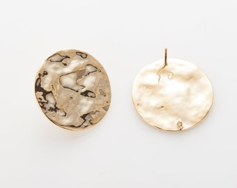 Wavy Circle 24mm Post Earring, Wavy Hammered Circle Post Earrings, Jewelry Making, Polished Gold-Plated - 2 Pieces [E0424-PG]