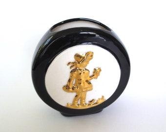 Sweet 1950s Golden Girl Ceramic Wall Pocket Black White and Gold Mothers Day Gift Wall Hanging Vase Jackpot Jen Vintage