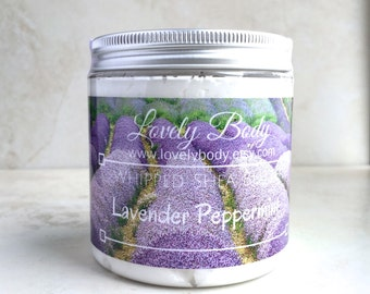 Lavender Peppermint Whipped Shea Butter - Natural Body Butter, Deeply Moisturizing Intensive Lotion, Lavender and Peppermint Essential Oils