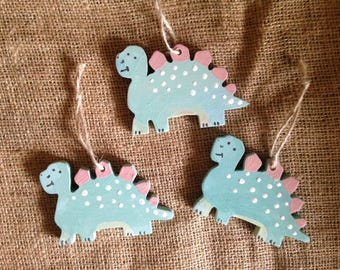 Dinosaur Decoration. RAWWWR. Wooden Decoration Hung with Twine. Personalised to Order.