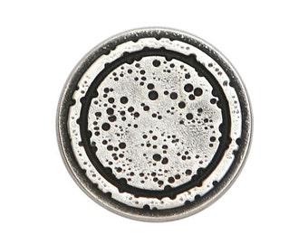 4 Rustic Rings 3/4 inch ( 20 mm ) Metal Buttons Silver Color
