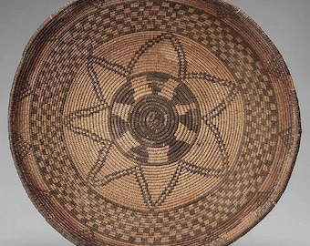 Coiled Basket : Native American Apache Coiled Basket #27