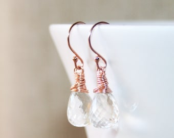 Clear Rock Crystal Dangle Earrings • Simple Drop Earrings in Silver, Gold or Rose Gold • Wire Wrapped Gemstone Earrings • April Birthstone