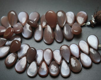 10 Pcs,Finest Quality,Natural Coffee Color Moonstone Smooth Pear Shape Briolettes,16-17mm Calibrated size