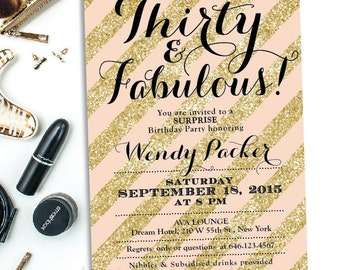 30th Birthday Invitation - Pink and gold birthday invite - Stripes Gold Glitter Invite - Peach Pink Coral
