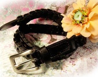 woven belt, black leather belt, unisex woven belt - Cow hide leather belt ,  braided leather belt, Medium - Size Waist up to 30 , # B 76