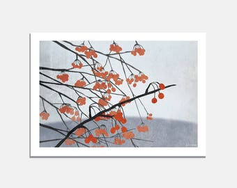 Red Berries - Art Print / wallart / art / winter / garden / grey / red / nature / berries / branch / landscape / home decor / christmas