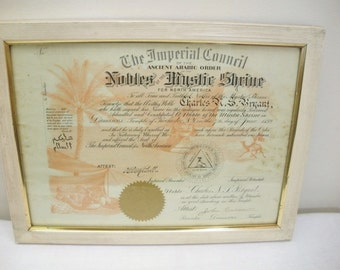 Antique 1899 Nobles of the Mystic Shrine Certificate