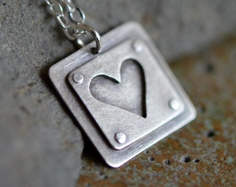 Riveted Silver Heart Necklace Small