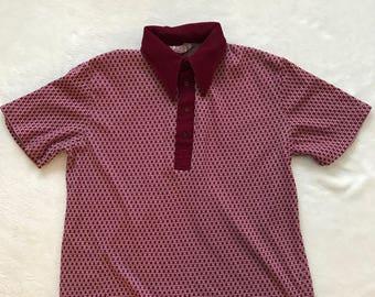 Men's Towncraft Banlon Short Sleeve Shirt 1960s Sixties Mod Garage