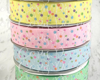 "7/8"", Dotted Lines Ribbon, US Designer Ribbon, Glitter Ribbon, Polka Dot Ribbon, Frappi Happy Collection, Ribbon for Bows, Hair Bow Ribbon"