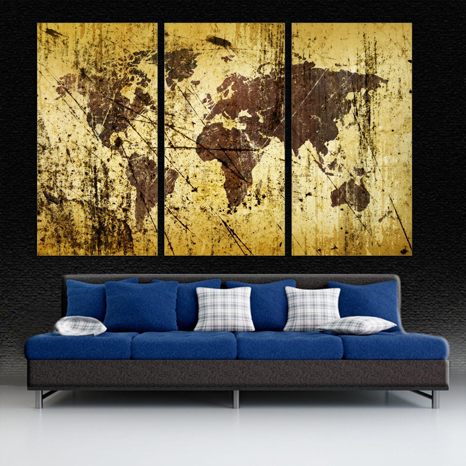 Abstract Buff Kobicha World Map Canvas Print wall art 3 Panel