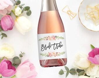 Bride Tribe Champagne Labels \\ Favor \\ Mini or Regular Size