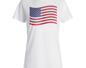 America USA Flag Travel The World Ladies T-shirt g301f