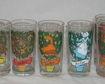 """Indiana 12 Days of Christmas Glasses You Pick 5 1/2"""""""