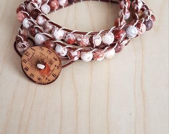 Crazy Agate leather wrap bracelet