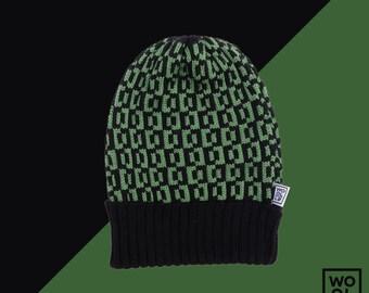 WOOLLO hat // One size // 100% italian wool // Unisex //  Green-black