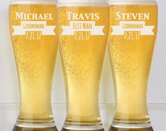 Groomsmen Gifts, Personalized Beer Glasses, Custom Wedding Party Gifts for Groomsmen, Groomsmen Beer Mugs, Gifts for Groomsmen, Engraved Mug