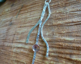 Textured silver wave pendant & copper dome cups : Handmade, sterling silver and copper