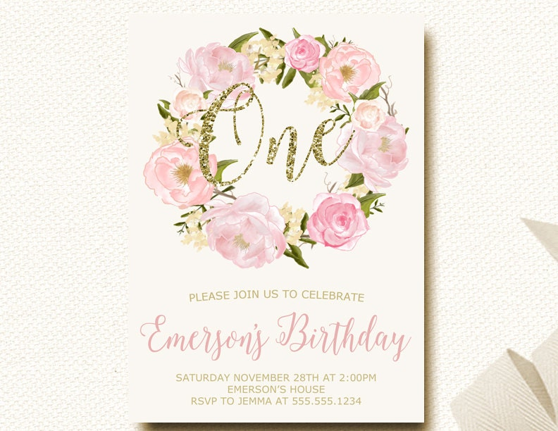1st Birthday Invitations Floral Crown Invitation for Girl