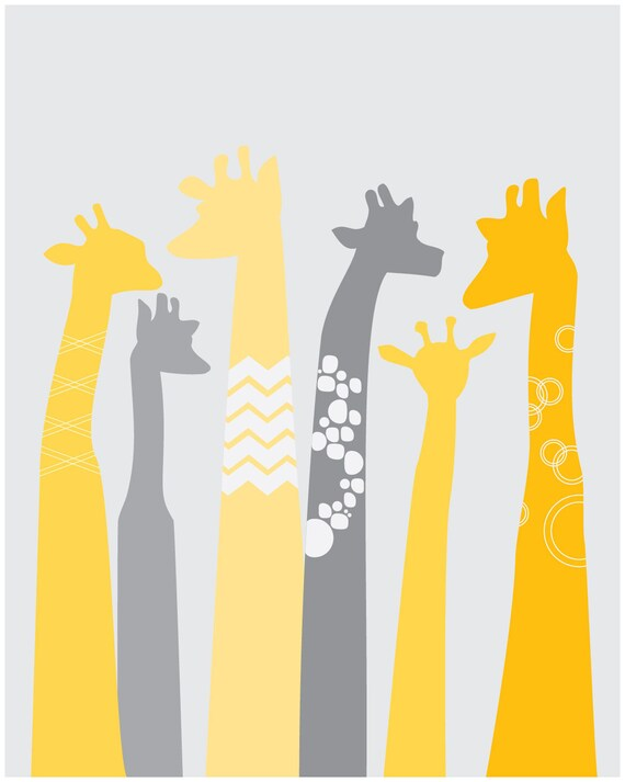 large scale giraffe nursery decor paper print yellow and