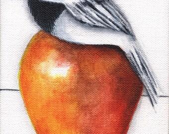 Chickadee Bird Apple Print on wood 3.5 X 5 reproduction