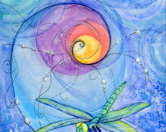 Dragonfly-Spiral-Sacred Geometry-Original watercolor print