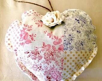 Lavender Heart Sachet, Shabby Chic, French Vintage Fabric