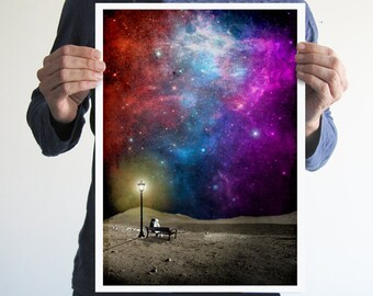 Missing home,astronaut,digital poster,print,space,geek,stars,galaxy,home decor,Nasa,moon,inspiration,gift ideas,moonlight,
