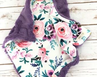 Custom Baby Blanket - Floral Baby Blanket - Stroller Blanket - Purple Baby Blanket - Baby Blanket -  Baby Girl Blanket - Pink Baby Blanket