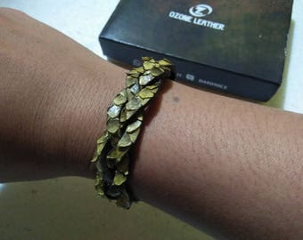 Yellow Python Leather Braided Bracelet