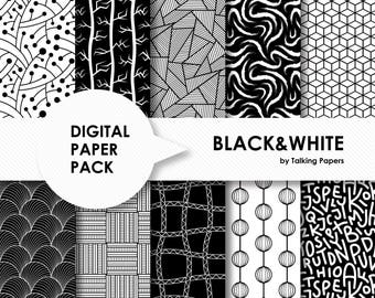 Digital Paper Black And White - Digital Paper Pack - B&W Backgrounds - Scrapbook Paper - Printable Paper - 12x12 paper - Instant Download