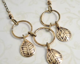 Etched Brass Necklace - Brass Teardrop Necklace - Three Drop Necklace