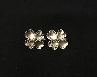 ON SALE Beau Sterling Silver Dogwood Flower Screw Back Earrings