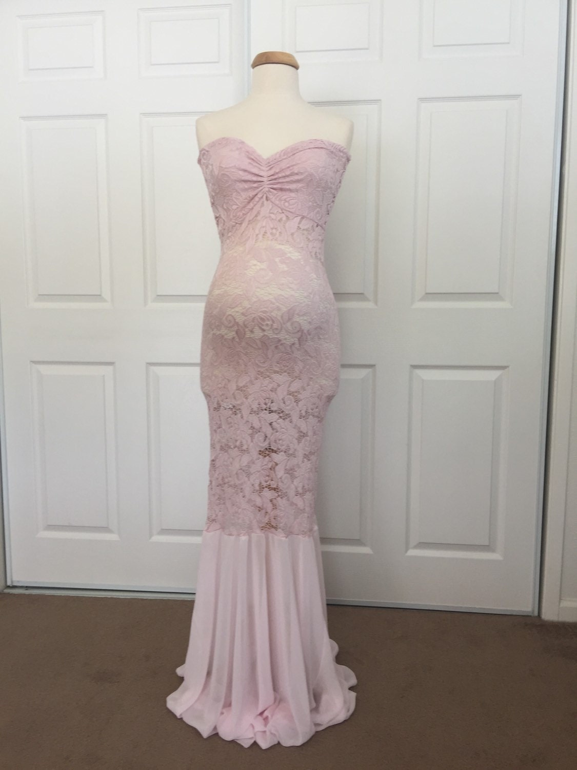 Light pink lace maternity gown mermaid slim fit zoom ombrellifo Choice Image