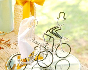 Wedding Cake Topper, Bicycle Wedding Cake Topper, Handmade, Road Bike Cake Toppers, Mr and Mrs Road Bikes with Black Wheels.