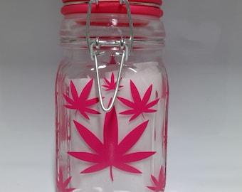 Pink Weed Everywhere Stash Jar