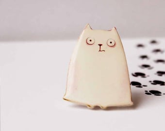animal lovers gift animal gift pet loss gift cat brooch cat pin cat jewelry animal jewelry cat lover gift cat baby shower gift white jewelry