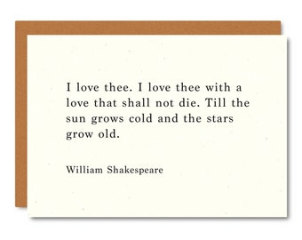 WILLIAM SHAKESPEARE (Love You) Literary Quote Card // Premium 100% Recycled  Paper