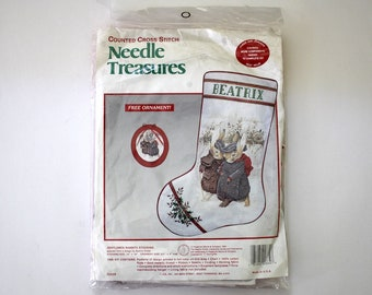 Vintage Beatrix Potter Needle Treasures Counted Cross Stitch Christmas Stocking Kit Gentlemen Rabbits 1990 with Ornament
