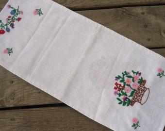 Hand Embroidered Linen Table Runner