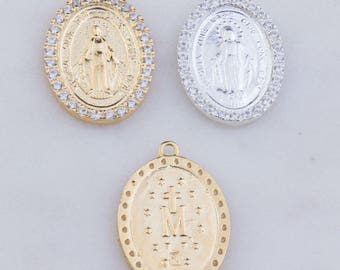 Virgin Mary Latin Oval Pendant with CZs in Sterling Silver, Gold Plated OR Rose Gold Plated, Miraculous Medal Charm, Catholic Charms CM159R