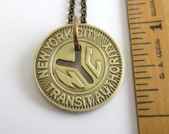 NYC Subway Token Necklace - Repurposed Vintage New York City Coin