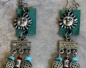 Sun Charm Dangle Leather Earrings