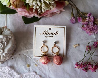 Pink roses earrings with golden hoops